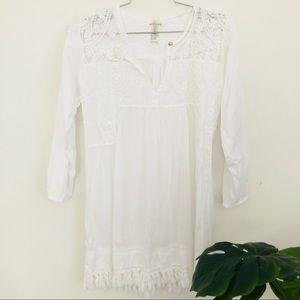 PilyQ white embroidered bikini cover up